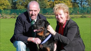 Jake with owners Ian and Liz Maxted-Bluck (pic: RSPCA)
